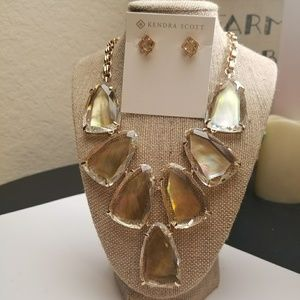 KENDRA SCOTT HARLOW NECKLACE & EARRINGS BROWN MOP